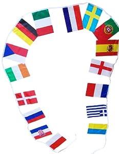 Guirlande des 32 drapeaux Nations - Coupe du Monde Football 2014 - Drapeau Pays-Bas , Italie , Belgique , Suisse , Allemagne , Espagne , Angleterre , Russie , Bosnie , Grèce , Croatie , Portugal , France , Brésil , Argentine , Colombie , Chili , Equateur , Uruguay , Japon , Australie , Iran , Corée du Sud États-Unis , Costa Rica , Honduras , Mexique , Nigeria , Côte d'Ivoire , Cameroun , Ghana , Algérie