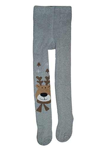 Naovio Toddlers Thicken Warm Pantyhose Elastic Thermal Footed Boys Girls Tights Legging Pants Warm Stockings with Deer Patterns Christmas Gift Xmas Deco,Grey