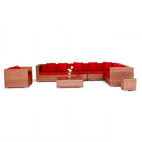 Outflexx Möbel Garnitur XXL 1301, Polyrattan Rundfaser w18, braun günstig online kaufen