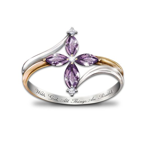 The Holy Trinity Amethyst And Diamond Womens Cross Ring By The Bradford Exchange 11900