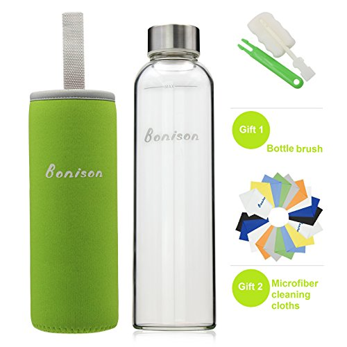 BONISON Stylish High-quality Environmental Borosilicate Glass Water Bottle with Colorful Nylon Sleeve (18oz) (GREEN) (Non Toxic Water Bottle compare prices)