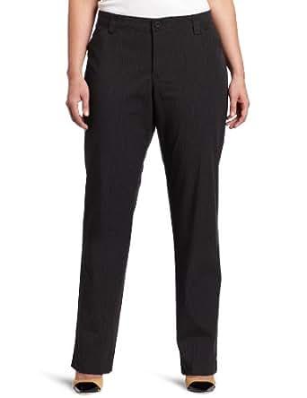 Lee Women's Plus-Size Comfort Fit Straight Leg Pant, Charcoal Tonal Stripe, 22W Petite