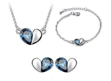 18K Gold Plated Heart Pendant Necklance, Stud earrings and Bracelet Set