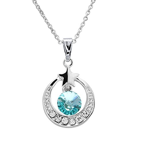 "Rhodium Plated ""I Love You To The Moon And Back"" Pendant, Moon and Star and Birthstone Crystal Necklace Jewelry A01"