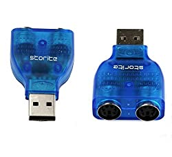 Storite USB to PS/2 Converter Adapter for Keyboard Mouse - Blue