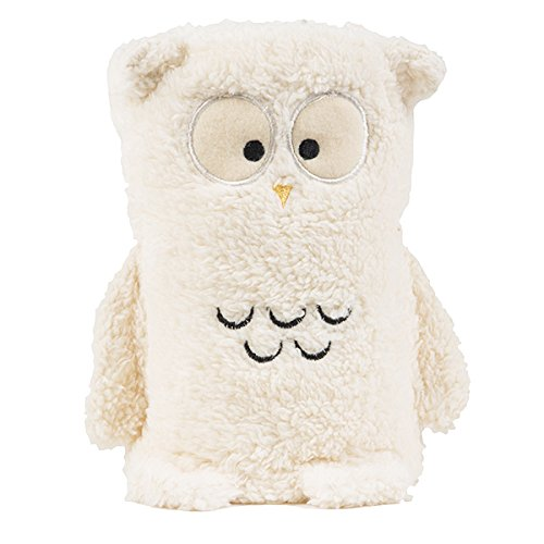 Tadpoles Animal Pals Rolled Sherpa Blanket, Osric Owl/Ivory