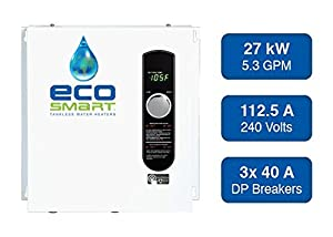 EcoSmart ECO 27 Electric Tankless Water Heater, 27 KW at 240 Volts, 112.5 Amps with Patented Self Modulating Technology (Color: White, Tamaño: 17 x 17 x 3.5)