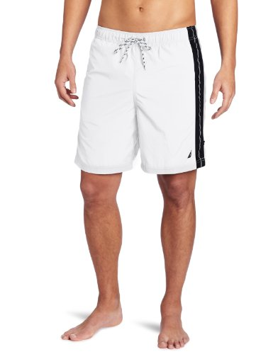 Nautica Men's Anchor Solid Stripe Swim Trunk, Bright White, Medium image