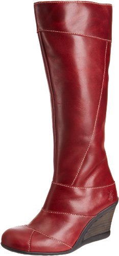 Fly London Women's Jelo Red Wedges Boots P142318002 4 UK