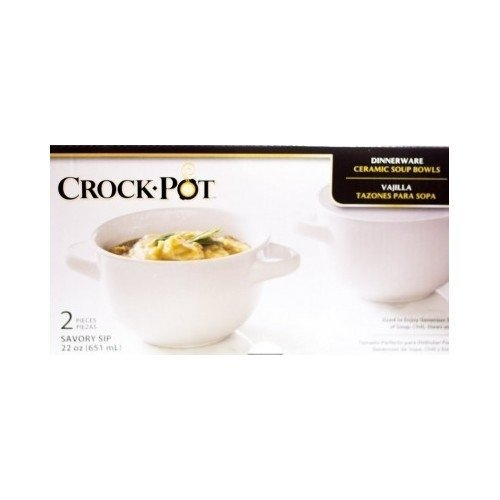Crock.Pot 22Oz Ceramic Soup Bowl - Enjoy Your Favorite Chili Soup Stew Or Even Desserts Like Ice Cream With This Microwave Safe Oven Safe And Dishwasher Safe Dish Set - Package Contains (2) Two White Crock.Pot Stoneware Soup Bowls Which Are Double-Handled