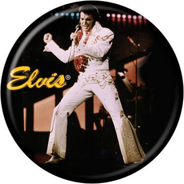 "Elvis Presley - Elvis White Jumpsuit Yellow - Pinback Button 1.25"" Bae-157"