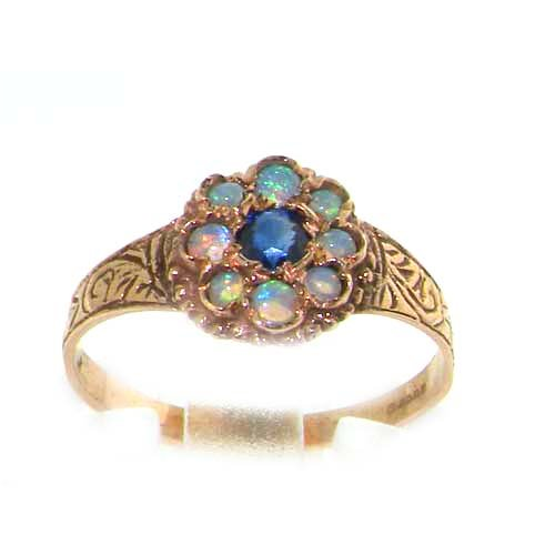 9ct Rose Gold Ladies Sapphire & Opal Cluster Ring - Size M - Finger Sizes L to Q Available - Ideal for Birthday, Valentines, Anniversary or Christmas Gift
