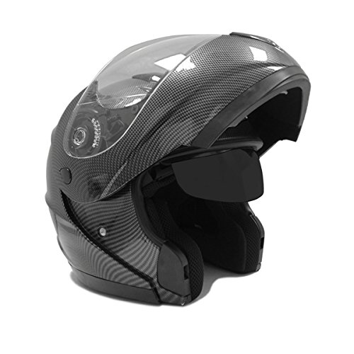 Motorcycle MODULAR Full Face Helmet Flip-Up Dual Visor DOT Street Legal - Carbon Fiber - LARGE (Full Face Carbon Helmet compare prices)