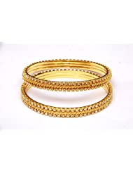 JEWBANG CELEBRITY Sparkling GOLD WHITE Womens Day Special Size2-4 Bangles For Women