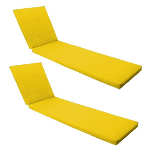 Outdoor Garden Sun Lounger Pad / Cushion 2 Pack in Yellow, Comfortable and Lightweight. Great for Indoors and Outdoor Use, Made from High Quality Water Resistant Material.