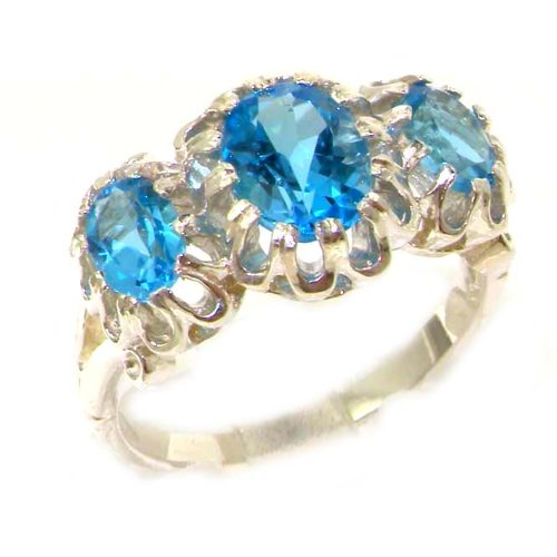 Unusual Large Solid 9ct White Gold Natural Vibrant Blue Topaz Victorian Inspired Ring - Size M 1/2 - Finger Sizes K to Z Available - Ideal gift for for Christmas, Birthday, Valentines or Mothers Day
