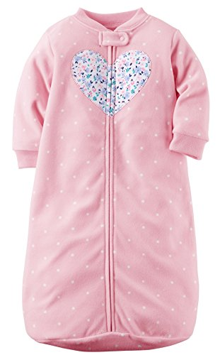 Carters One-piece Soft Fleece Sleepsuit or Sleep Sack, Pink Floral Heart, 0-9 Months