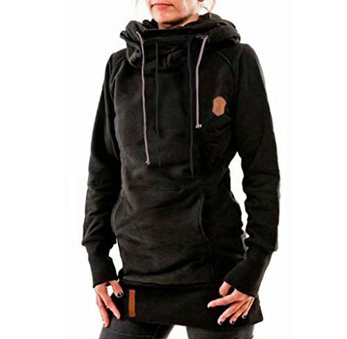 Usstore Women Coat Fitted Long Sleeve Pullover Hooded Tops Outwear (S, Black)