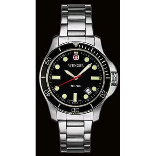 Wenger Men's 72326 Battalion III Diver Black Dial Steel Bracelet Watch