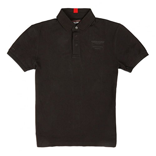 Hackett AMR Leather Bind Collar Polo Shirt Small Black