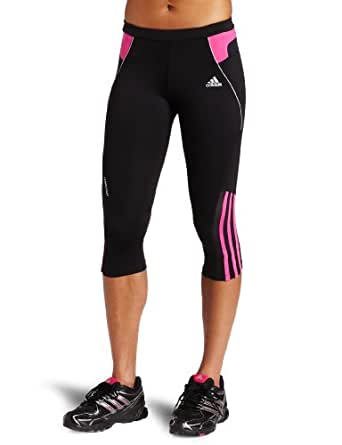 adidas Women's RESPONSE DS Three-Quarter Tight  (Black, Intense Pink, Strong Pink, X-Small)