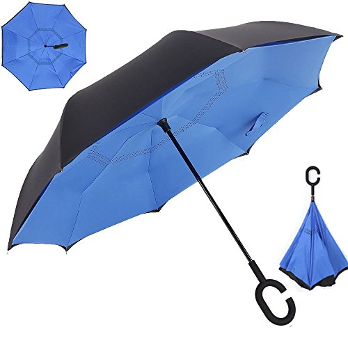 NEWBRELLAs Creative Upside-Down Drip-free Self-stand Inverted Umbrella for Driver Use with C-shape Handle (Blue)
