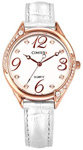 Comtex レディース時計 ホワイトベルト 丸い アウトドア カジュアル 女性 クォーツ腕時計