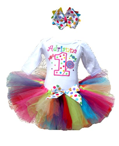 Personalized Candy Birthday Tutu Outfits For Girls Age 1 to 16 Plus Headband