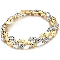 Wearyourfashion 18K Gold Plated Aaa Cubic Zircon Crystal Triple Leaf Multi Strand Bracelet For Women