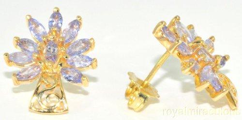 1.50 CTW Tanzanite Flower Earrings 14K Yellow Gold