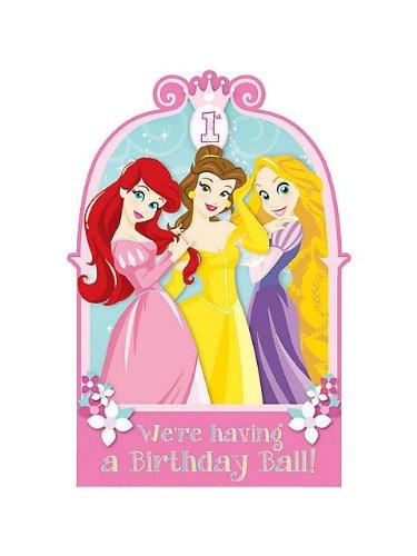 Disney Princess 1st Birthday Invitations w/ Envelopes (8ct)