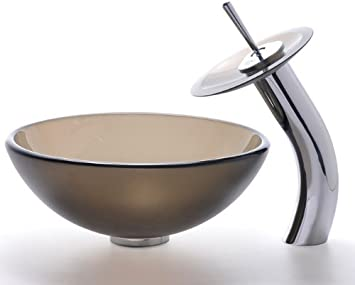 "Kraus C-GV-103FR-14-12mm-10ORB Frosted Brown 14"" Glass Vessel Sink and Waterfall Faucet Oil Rubbed Bronze"
