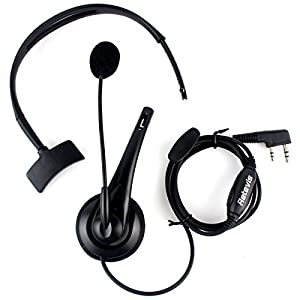 Retevis Overhead Earpiece Boom Microphone Noise Cancelling Headphone for KENWOOD Retevis BAOFENG 2 Way Radio (1 Pack)