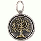 Waxing Poetic Charm Sterling Silver Brass Tree of Life Pendant
