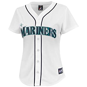 MLB Seattle Mariners Ladies Dustin Ackley 13 Replica Jersey, White by Majestic