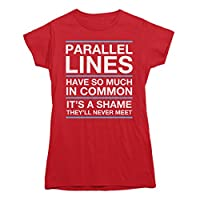 Rocket Factory Parallel Lines Will Never Meet T-shirt Ladies/Juniors Sizes S to XXL