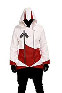 Hoodie Costume Jacket Coat - independently designed by WitBuy designers,White with Red (Men-XXX-Large)