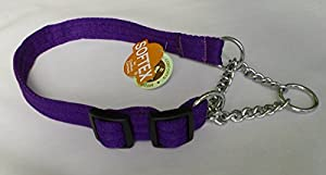 "Softex Half Check Adjustable Dog Collar fits up to 26""(66cms) Neck -Purple"