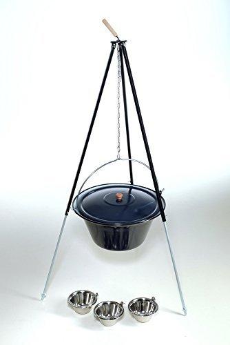 original ungarischer Gulaschkessel 30 Liter inkl. Deckel mit Dreibein 1,80m und 3 Essschüsseln – Komplettset günstig online kaufen