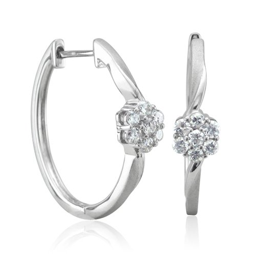 10K Gold and Silver 7 Stones Hoop Diamond Earrings (GH, SI3-I1, 0.50 carat)
