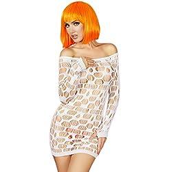 NImra Fashion White Seamless Mini Dress Chemise (Free)
