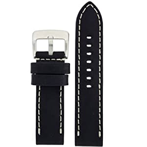 Panerai Style Watch Band Thick Leather Like Original Heavy Buckle Black 22 millimeter by Tech Swiss