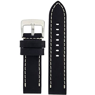 Tech Swiss LEA1550-22 22mm Leather Calfskin Black Watch Band.