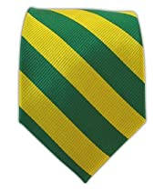 100% Silk Woven Green and Gold Striped Tie