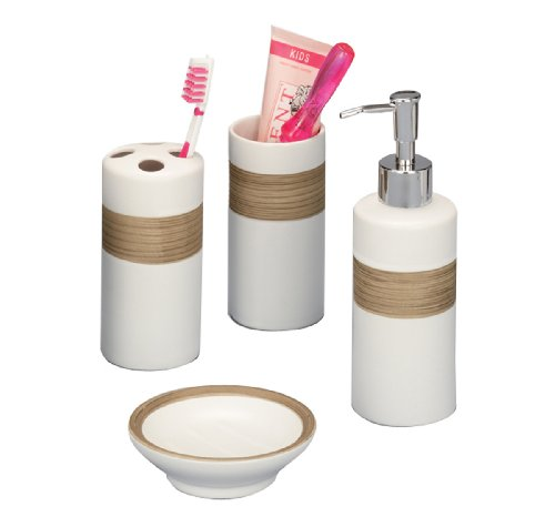 Zeller 18260 Set 4 accessori bagno in ceramica colore: Beige/Marrone