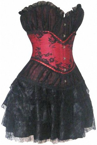 Red & Black Vintage Sexy Women Corsets and Tutu sets 30023