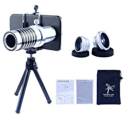 Apexel Samsung Galaxy S4 Camera Phone Lens Kit Including 14x Manual Focus Telephoto Lens/ Fisheye Lens/ Wide Angle Lens/Macro Lens with Mini Tripod /Universal Phone Holder / Hard Back Case for Samsung Galaxy S4 I9500