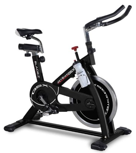 Bladez Indoor Cycle - Jet GSX - Heavyweight Flywheel For Ultra Smooth Movement! - Superior Quality Spinning Excercise Bicycle for In-Home Workouts - Oversized Steel Frame Provides Stability - Intuitive LCD Display Gives Workout Feedback To Motivate You