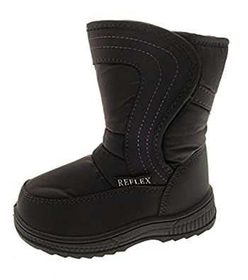 CHILDRENS UNISEX GIRLS BOYS WINTER WARM FUR VELCRO SNOW BOOTS COMFORTABLE BLACK SIZE 10