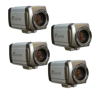 4 Pack of Sony CCD 27x Zoom Day/Night Surveillance Security Camera with Power Supply Kit - 420 TVL, Super Low 0.5lux Indoor Camera Great Picture in Low Light, Auto Focus, Buttons on Back, Light Weight Compact